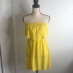 Strapless Yellow Mini Dress